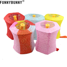 FUNNYBUNNY Portable hollow paper lanterns LED light hexagon festival small gifts
