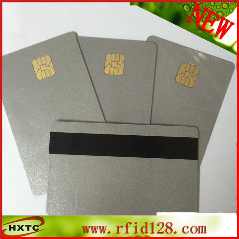 Free Shipping Sle4428 Chip Silver Card with 3track Magnetic Stripe for Access Control 50PCS/Lot