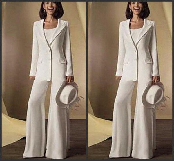 2019 Mother Of The Bride Pant Suits 3 Pieces Women White Flare Pants Vestido Madrinha Farsali Wedding Guest Vestido De Madrinha