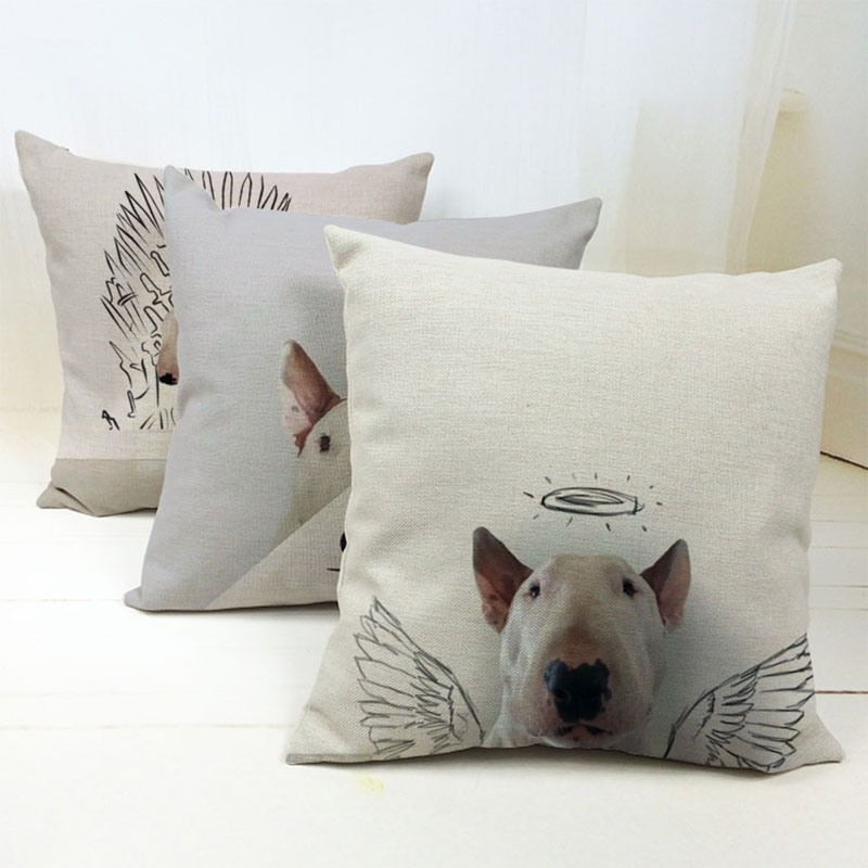 Bullterrier Cushion Covers Dog Pet Soft Material Pillow Cases For Kids Baby Girl Boy Bedroom Decor 45X45cm