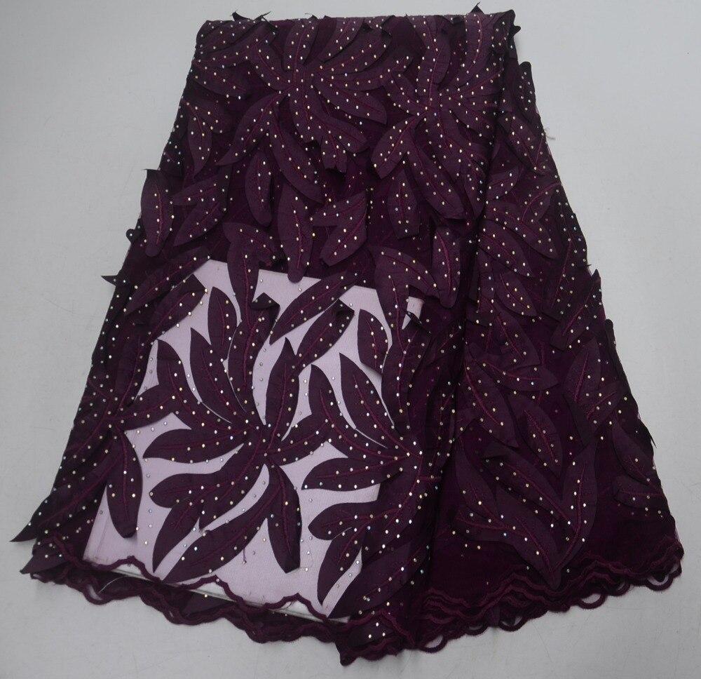 2019 tissu de dentelle Web français de haute qualité, tissu de robe de fête en cristal synthétique nigérian