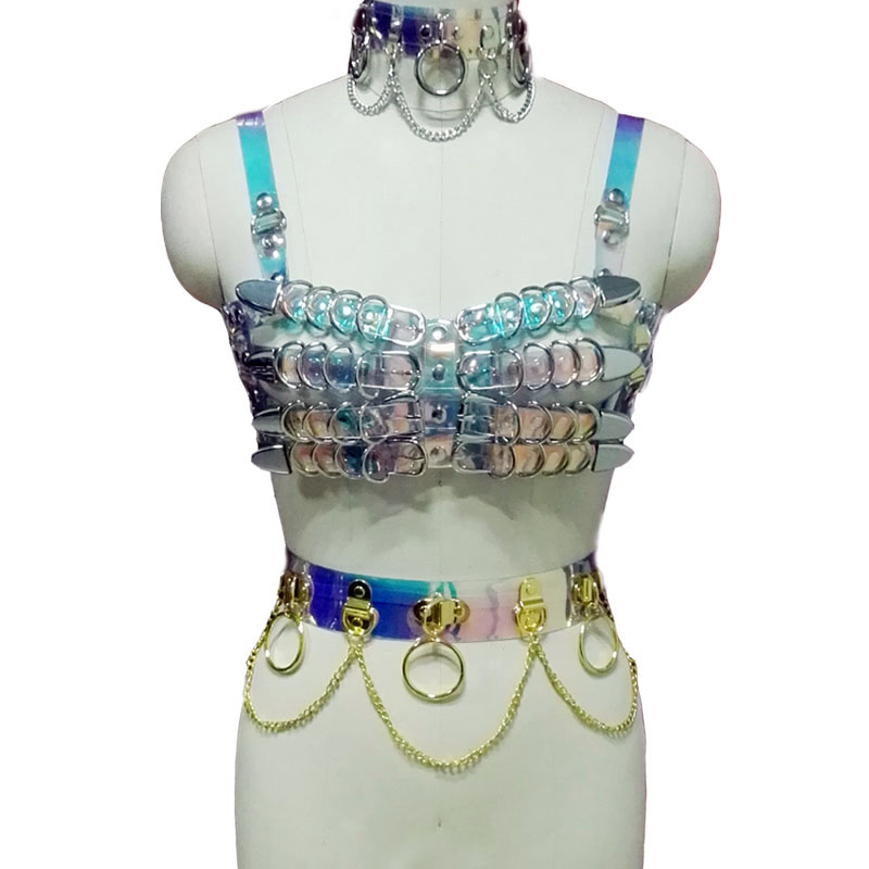 100/% Handmade Holographic Laser Caged Bra Bondage Waist Cincher Belts Straps
