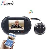 Electronic wireless digital door viewer wifi door eye camera Android 4.2.2 OS with door bell