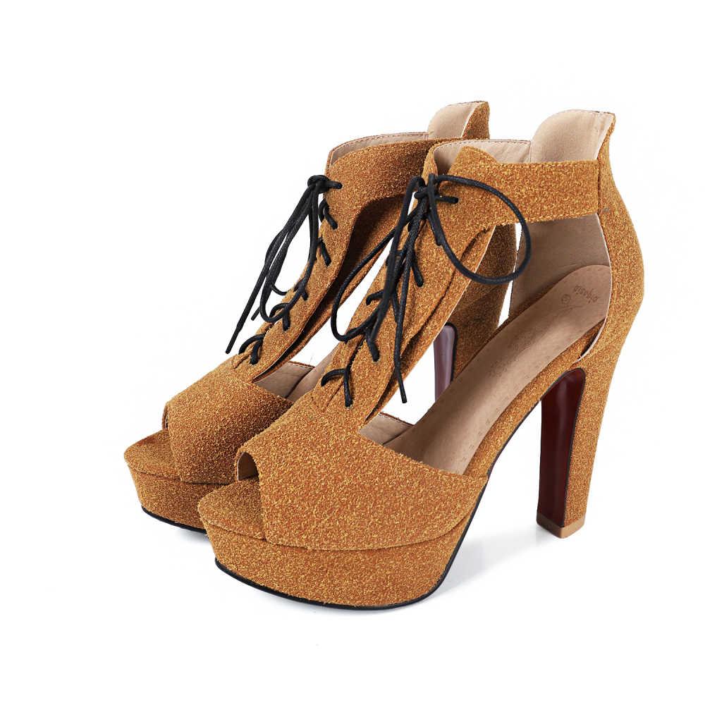 พลัสขนาด 32-43 ผู้หญิงแต่งงานสีทอง Peep นิ้วเท้ารองเท้าแตะรองเท้าแตะแฟชั่นรองเท้าส้นสูง 12 เซนติเมตรรองเท้าแตะลูกไม้ - ผู้หญิงรองเท้า 2018