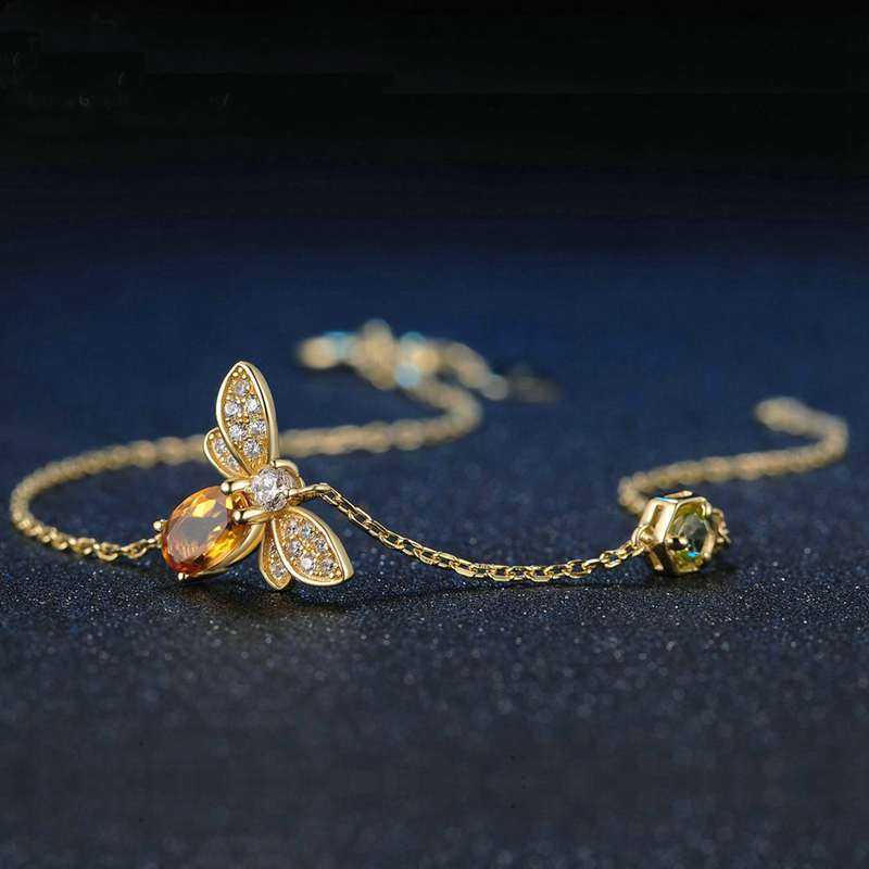 Clearance Sale Bee Natural Yellow Citrine/Green Olivine 14K Gold 925 Sterling Silver Bracelet for Women Fine Jewelry YBR125
