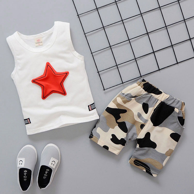 Summer newborn baby boy clothes fashion design camouflage vest sets outfits casual sports suit baby boys Breathable print sets