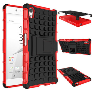New For Sony Xperia Z5 Phone Case Dual Layer Kickstand Heavy Duty Armor Shockproof Hybrid Hard Silicone Rubber Back Case