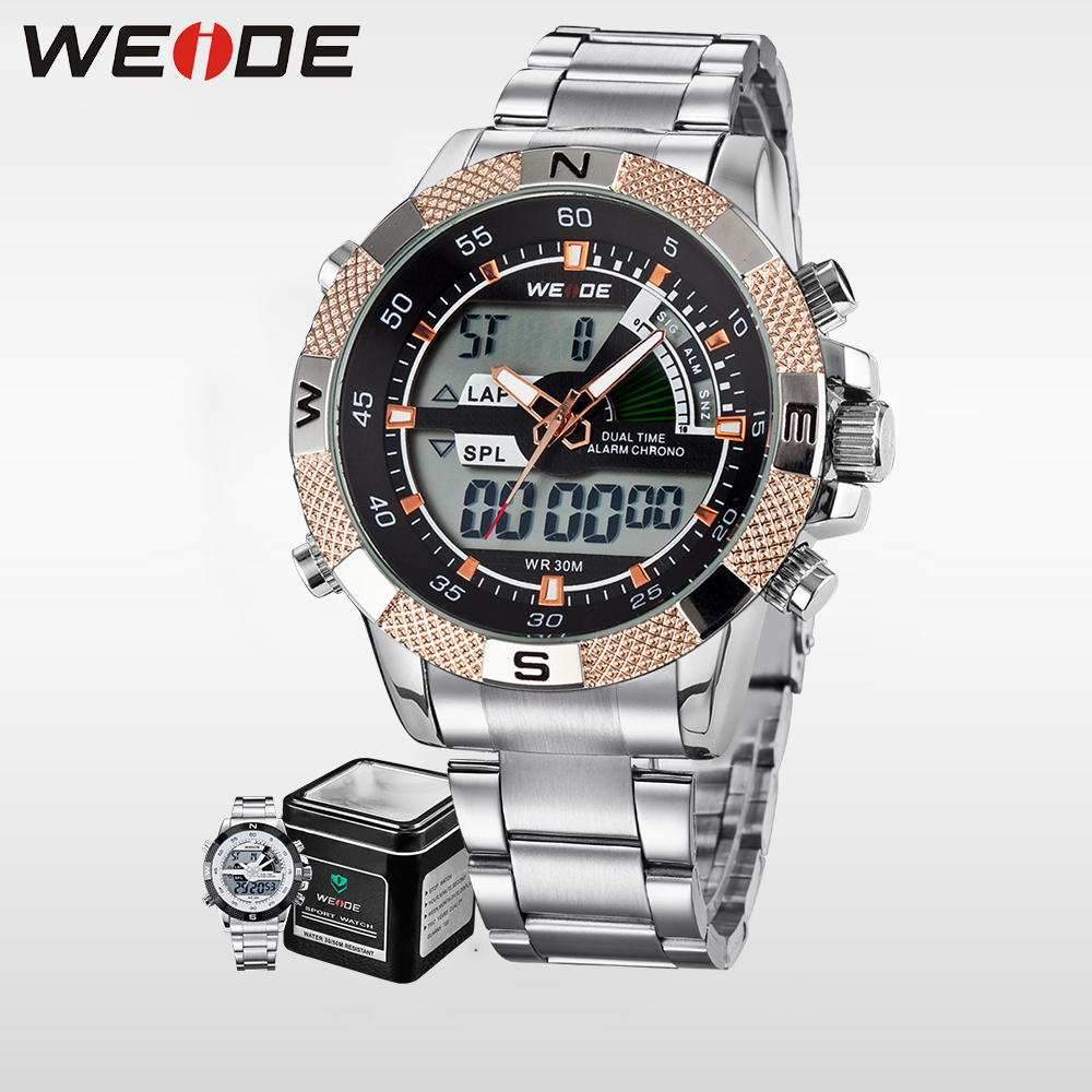 WEIDE Men Business Quartz Wrist Watch Dual Time Zone Top Brand Big Dial Stainless Steel Sports alarm Clock Gold LCD relogio 1104 men s quartz relogio masculinos dial glass time men clock leather business round case hour watch relojes hombre levert dropship