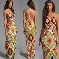 sexy dress for beach wedding long dress brace and squares , Bikini dress beach, Swimwear cozy dress