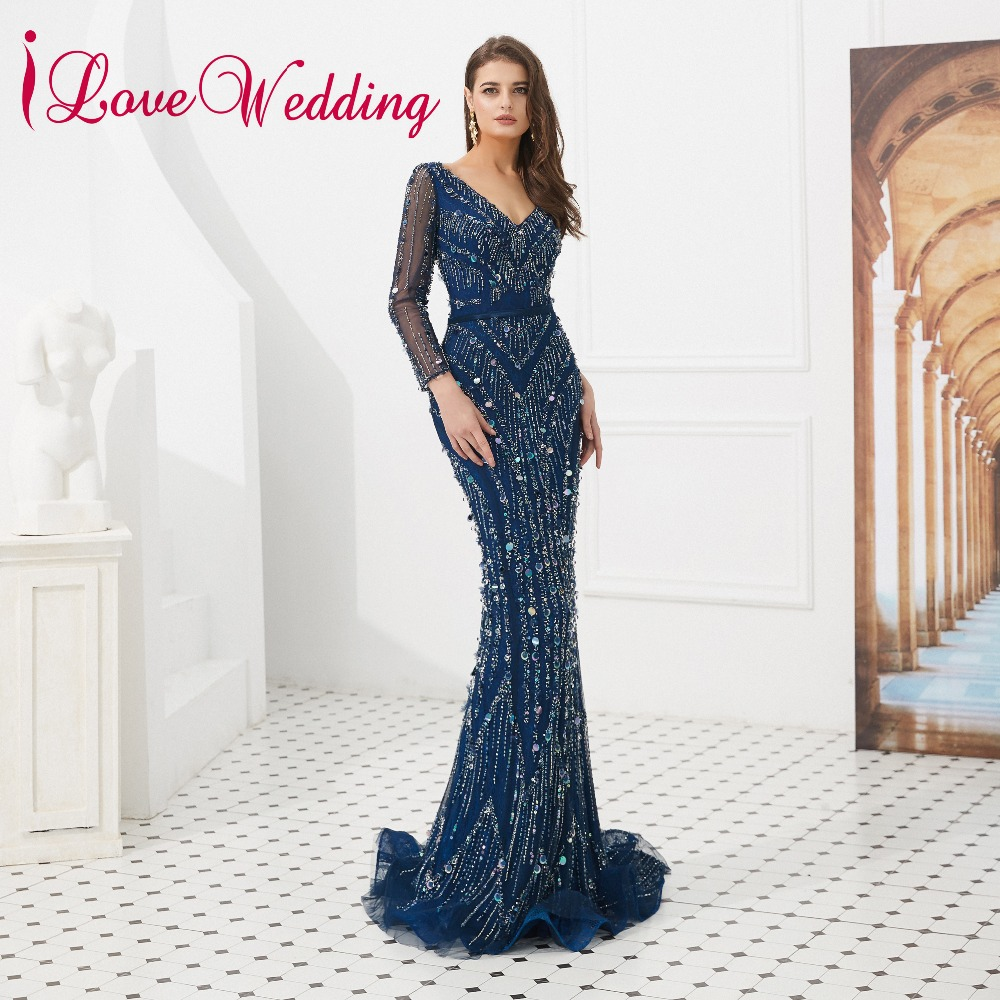 iLoveWedding 2019 Sexy V Neck Luxury Blue Beadings Custom made Women Party Gown Formal Long Sleeves Trumpet   Evening     Dresses