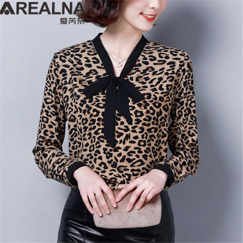 New Leopard Print   Blouse     Shirt   Women Fashion 2019 Korean Elegant Chiffon Tie Bow Womens Tops and   Blouse   Plus Size Ladies Clothes