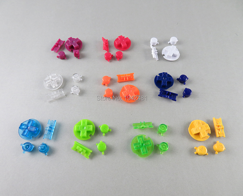 OCGAME 10sets/lot Plastic Power ON OFF Buttons Keypads for Gameboy Color GBC Colorful Buttons for GBC D Pads A B Buttons(China)