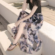 women Sets Summer Korean Black Thin Cotton T+ Side Open Print Flower Chiffon Long Skirt Set Women's Set Long Skirt Plus T-Shirt geo print knot side skirt