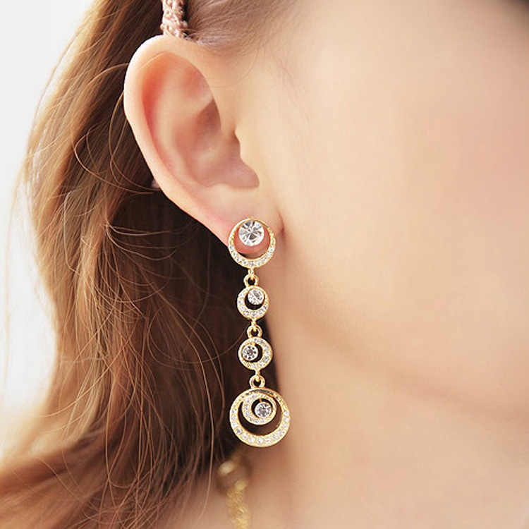 Vintage Long Tassel Earrings Luxury Dangle Drop Stone Earrings For Women Bohemian Earrings