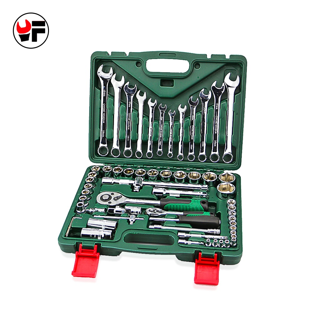free shipping 61pcs torque wrench set 1/4 socket wrench tool box ratchet spanners for car repair tool set combination car wrench