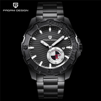PAGANI luxury brand design men's all steel waterproof mechanical watch 2018 new black dial chronograph watch has been dropped
