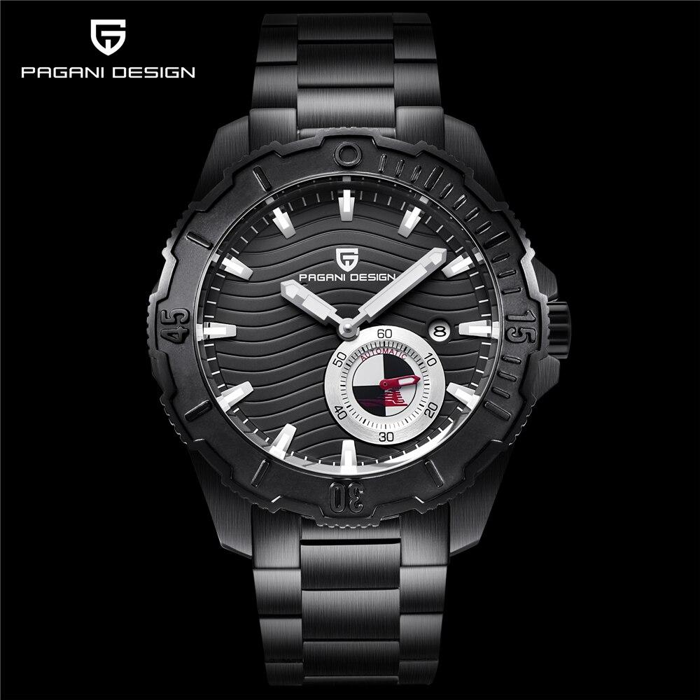 PAGANI marque de luxe de conception hommes tout en acier étanche montre mécanique 2018 nouveau cadran noir chronographe montre a été a chuté