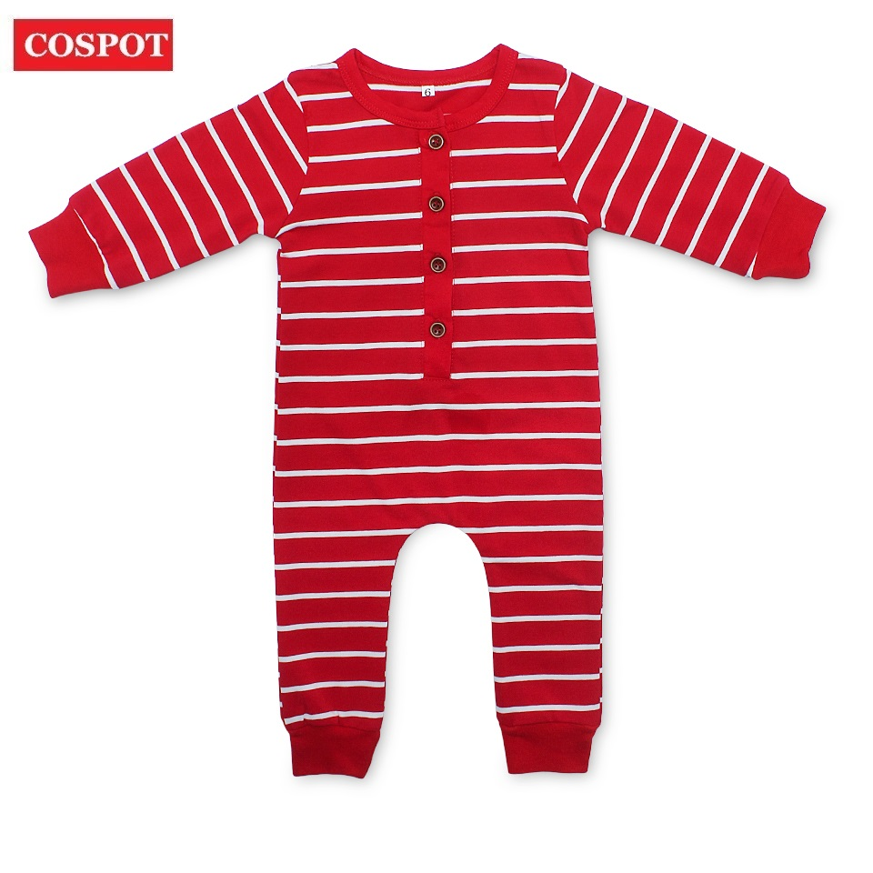 COSPOT Baby Newborn Christmas Romper Baby Girls Boys Red Striped Jumpsuit Infant Xmas Autumn Pajamas Toddler Kids Jumper D33