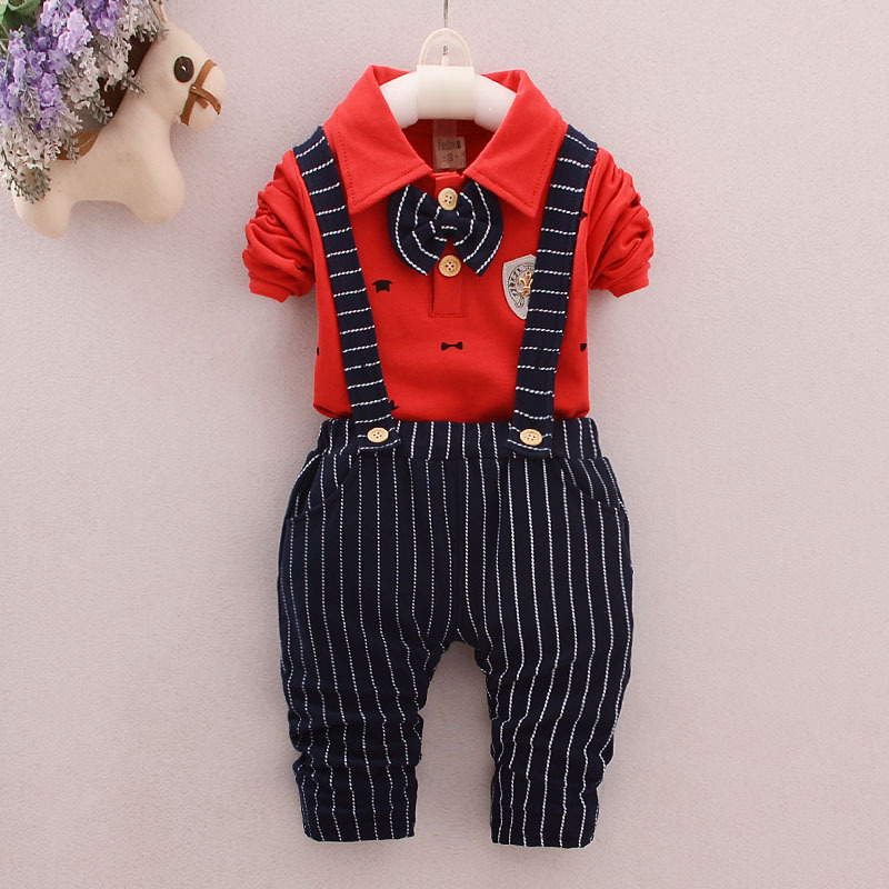 2017 new baby boy spring and autumn casual clothes suit baby children gentleman fashion bow dress suit shirt + overalls 2 set gc y33001l7