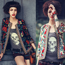 New Ethnic Style Vintage Women Jacket Fashion Flower Print Embroidery Three Quarter Short Jackets Slim Thin