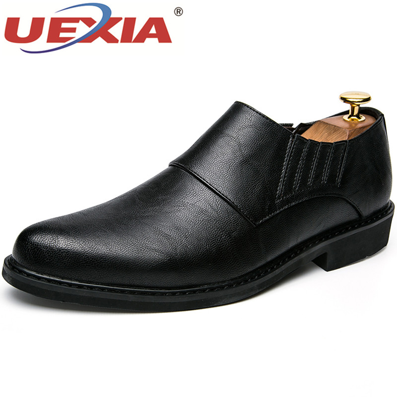 UEXIA Mens Dress Italian Leather Shoes Luxury Brand Formal Male Shoes Glitter Business Men Mocassins Wedding Dress Formal Shoes