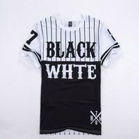 2016 Summer New Style Number 78 Black White Patchwork Men Tshirt Baseball Tee Shirts Man Hip