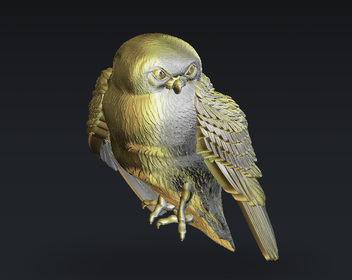 Owl 3d Model For Cnc In STL Format For CNC Router Engraving Carving M257