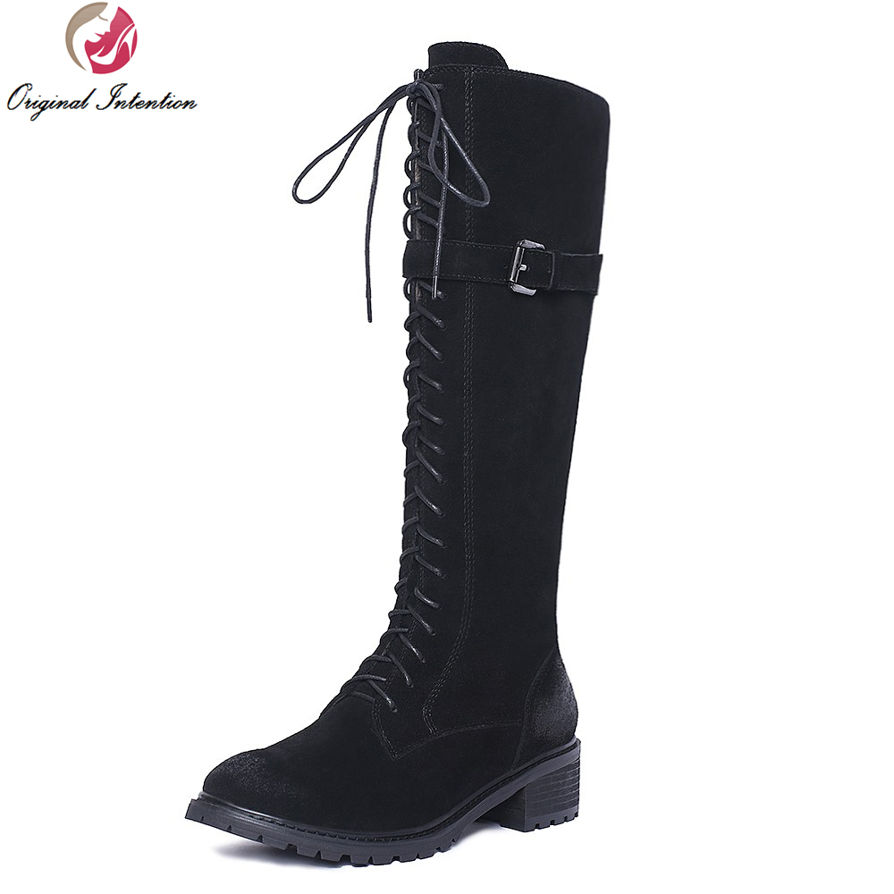 Original Intention Fashion Women Knee High Boots Nice Round Toe Square Heels Boots Popular Black Shoes Woman US Size 4-10.5 original intention nice fashion women knee high boots round toe square heels boots beautiful black shoes woman us size 3 5 13