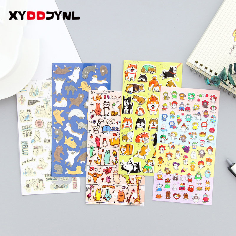 3Sheets/3Pc Kawaii Sticker Cartoon Animals Cute Cat Children Stickers Scrapbook Decoration Stationery Products