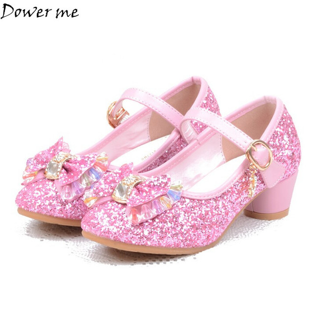 Girls Sandals Kids Crystal Shoes Dream High Heels Students Dance Party  Sequins Shoes Children Leather Fashion Bow Pink Princess 6fe525537836
