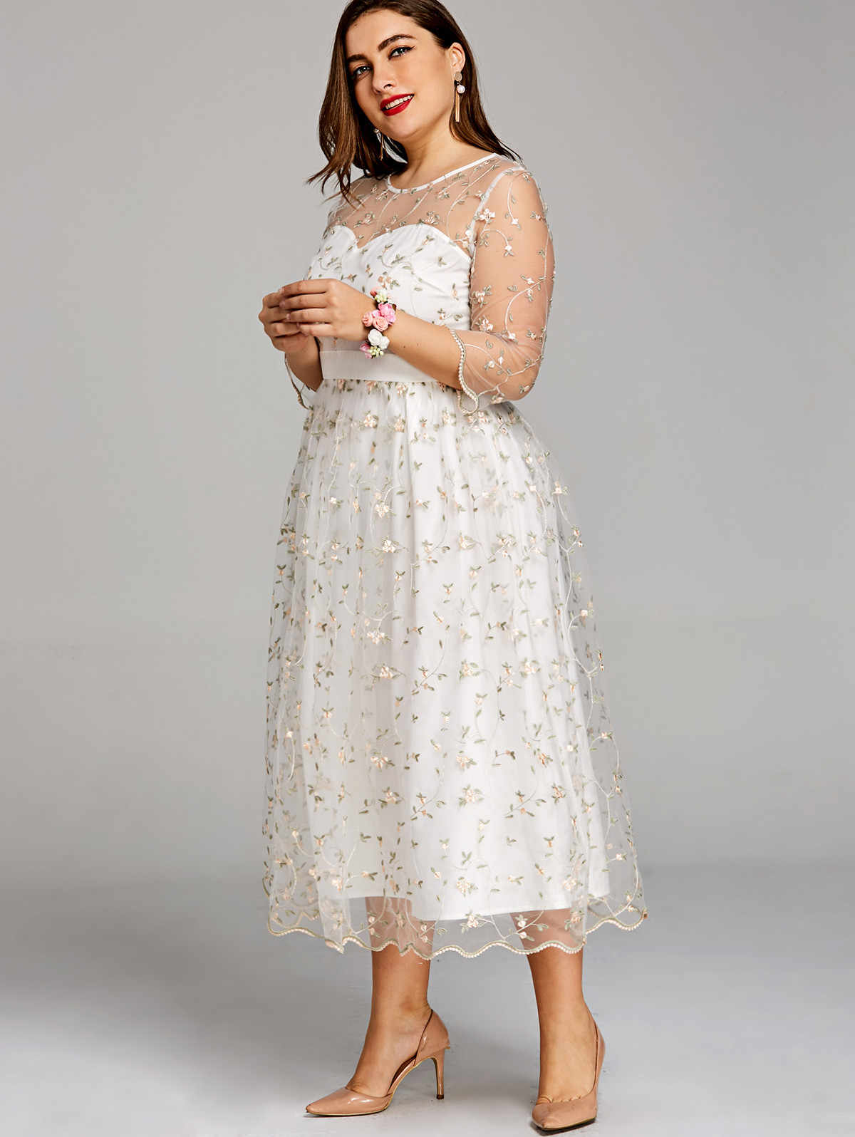 a1a7acb7d8 Gamiss Women Party Dress Plus Size 5XL Embroidery Floral Midi Tulle Dress  Scalloped Edges Elegant O Neck A-Line Dresses Vestidos