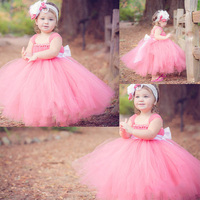 Custom Made Pink Ball Gown Ankle Length Soft Tulle Tutu Vestidos Infantis Flower Girl Dresses For Weddings With Big Bow T001