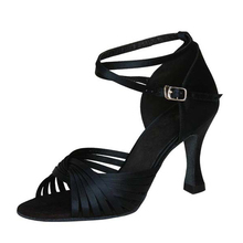 Heel Height 7cm Black Skin Tan Red And Silver Latin Salsa Dance Shoes Comfortable Upper Material Satin Or Pu Evkoo-073
