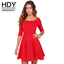 HDY Haoduoyi elegant dress slim A-line dress with wave neck high waist dress for wholesale and free shipping Women Vestidos