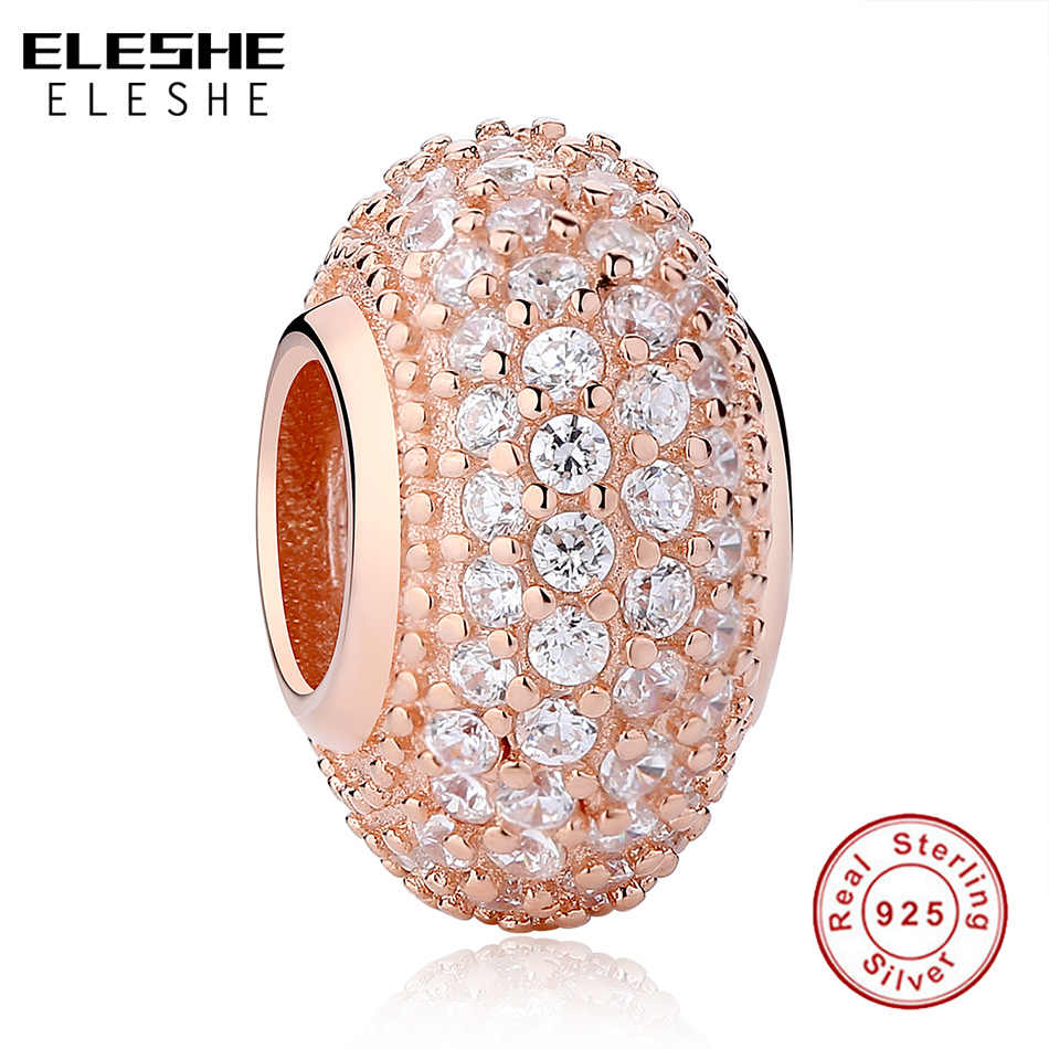07f92c188 ... Original 925 Sterling Silver Charm Beads Heart Family Tree Rose Gold  Crystal Beads Fit Authentic Pandora ...