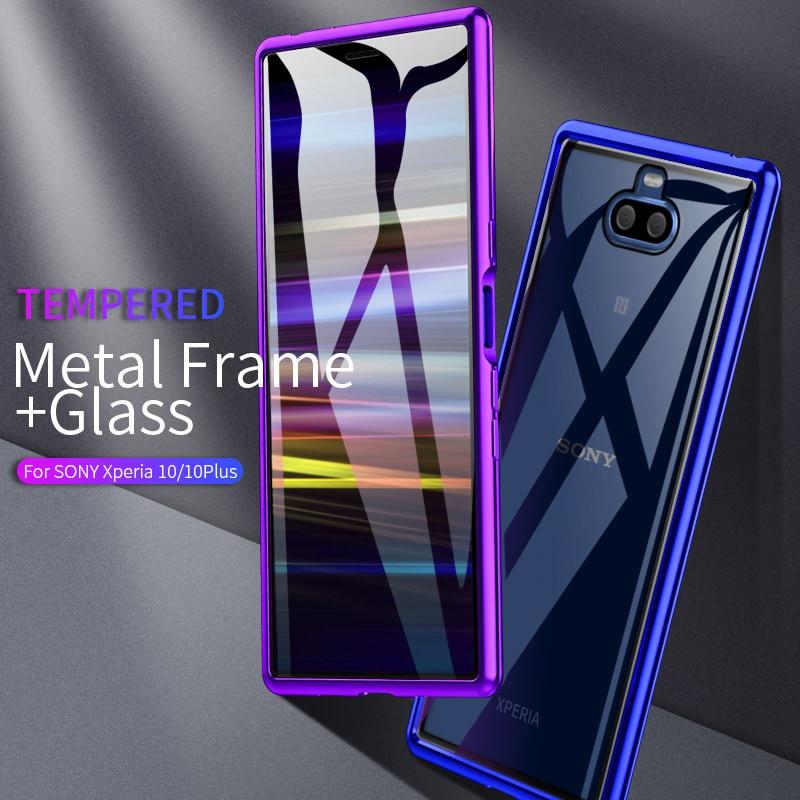 Manual de Instalação Do Parafuso de Metal Bumper Case For Sony Xperia 10 Além de Luxo Vidro Temperado Claro Casos de Telefone Para Sony Xperia 10 capa