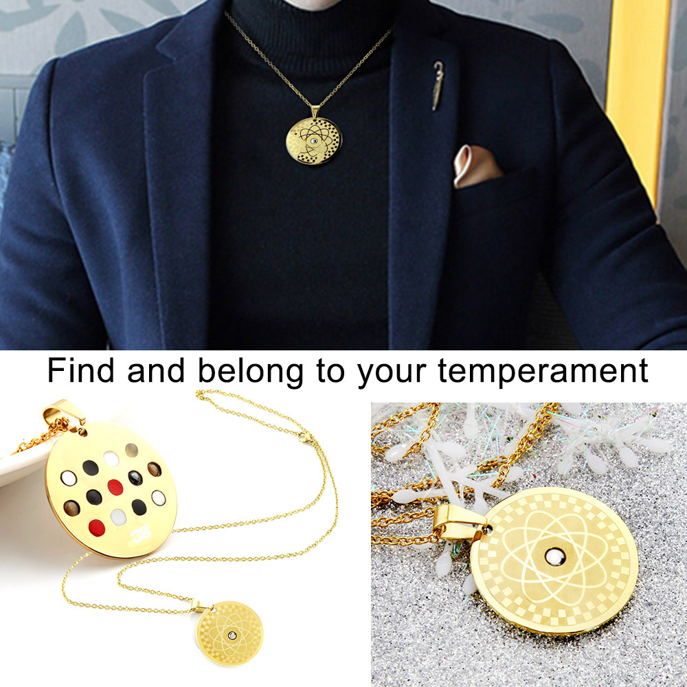 New arrival !Energy Round Pendant Necklace With Magnetic Germanium FIR Health Amulet Men Women Necklace