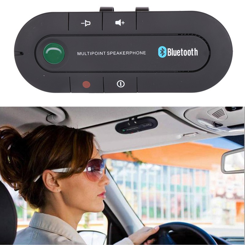 2019 Multipoint Speakerphone 4.1+EDR Wireless Bluetooth Handsfree Car Kit MP3 Music Player For Smartphone Iphone Android Phones