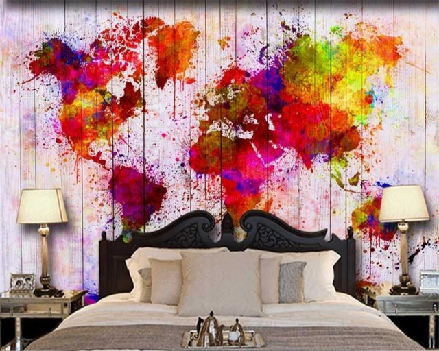 Beibehang Custom Wallpaper Modern Simple Colorful Abstract Oil Painting World Map Background Decorative 3d