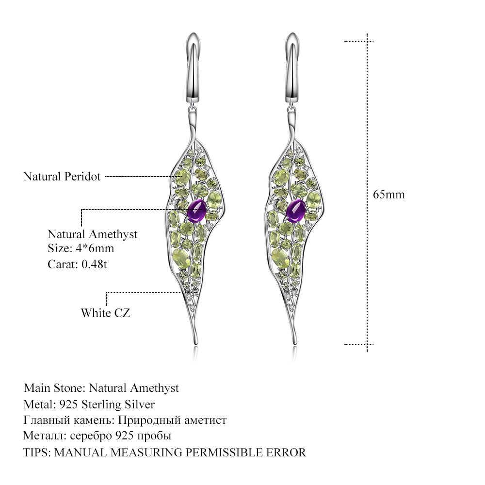 GEM'S บัลเล่ต์ 925 เงินสเตอร์ลิง VINTAGE Palace Drop ต่างหูธรรมชาติ Amethyst Peridot อัญมณียาวต่างหูผู้หญิงเครื่องประดับ
