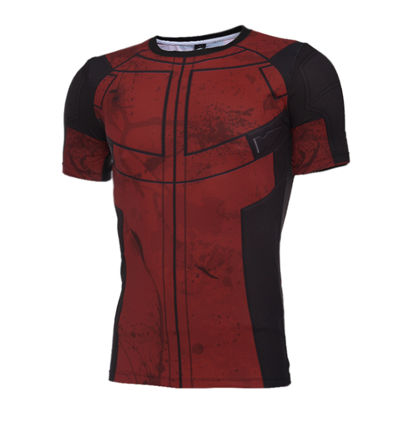 2016 летние футболки Дэдпул с коротким рукавом и круглым вырезом Мужская Косплей Аниме одежда футболки мужские фитнес колготки футболка