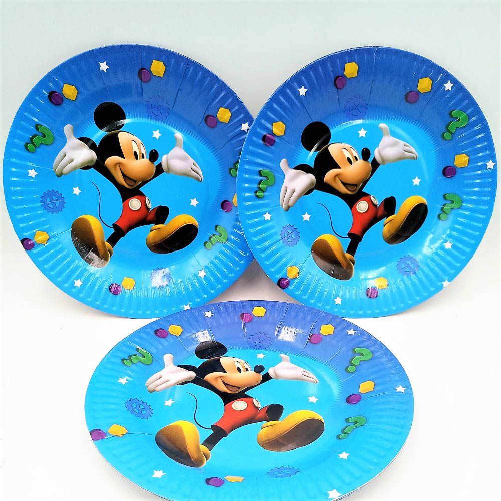 Mickey Mouse Festa di Compleanno Decorazione Forniture Bambini Usa E Getta set Da Tavola Tovaglia piastra tazza di banner baby shower di favore del regalo