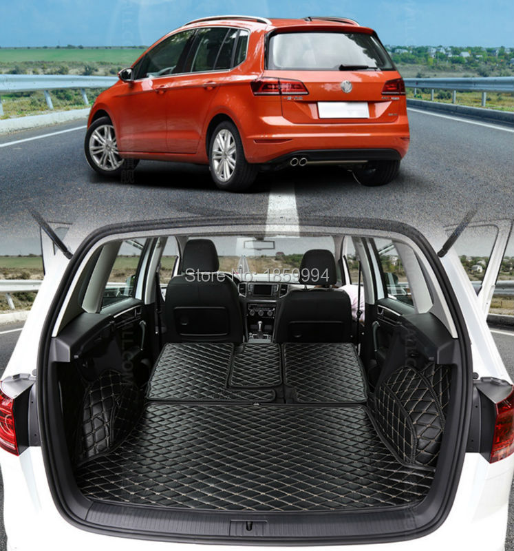 para 2016 2017 VW GOLF Sportsvan trasera cola maletero del coche estera botas duraderas alfombras completa cobertura