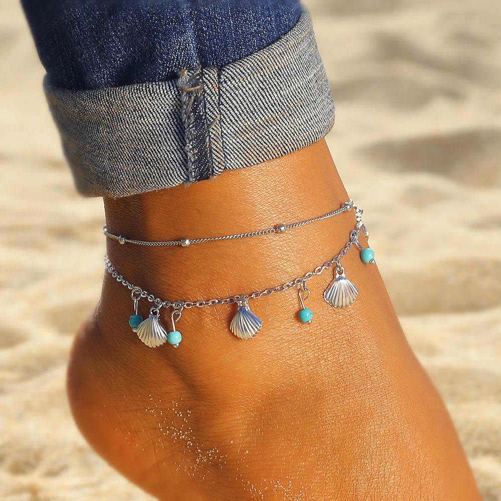 を女性のための 2 ピース/セットアンクレット足ジュエリー夏のビーチ裸足足首足にボヘミアン石ビーズ女性アンクレット