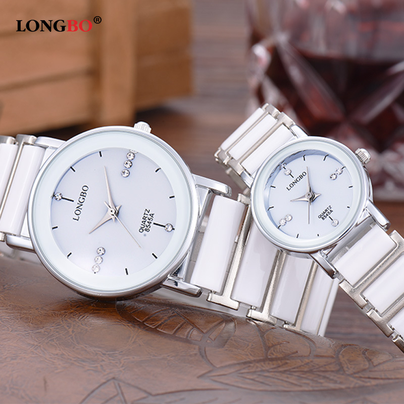 High Quality Longbo 8454 Women's Exquisite Business Gift Clock Top Quality Ceramic Band Lovers' Man Lady Rhinestone Quartz Watch