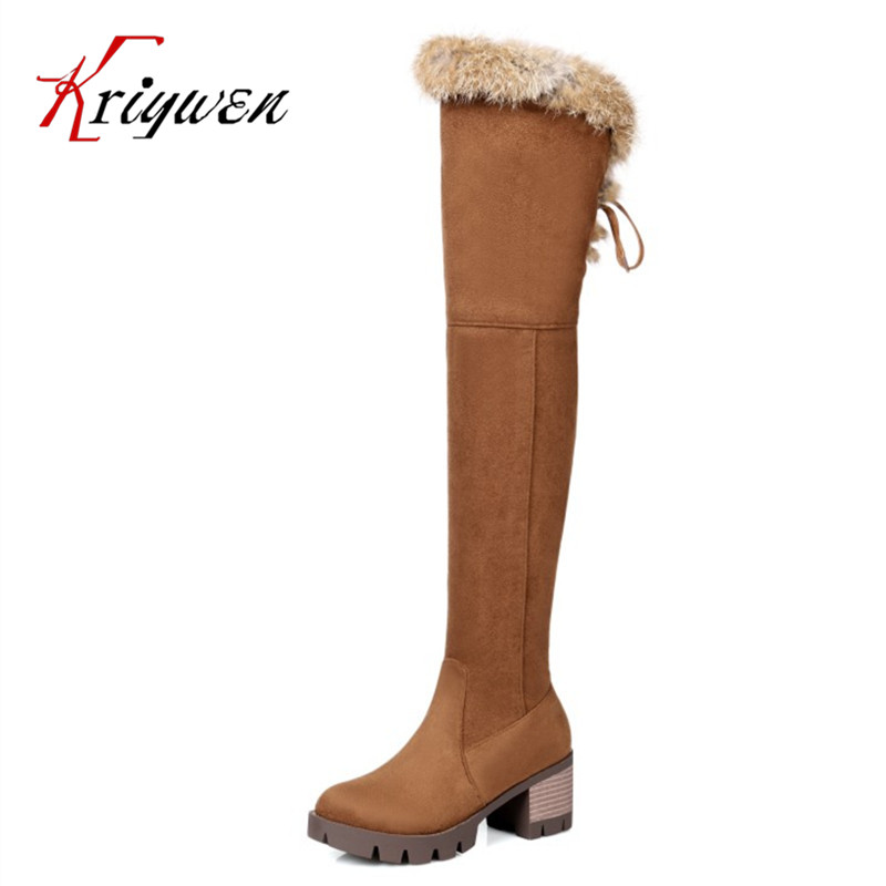 Plus size 32-46 new autumn winter Fashion women over the knee boots high heels shoes top quality long boots thigh female shoes odetina 2017 new fashion autumn winter women thigh high boots blue denim over the knee boots high block heel shoes plus size 43
