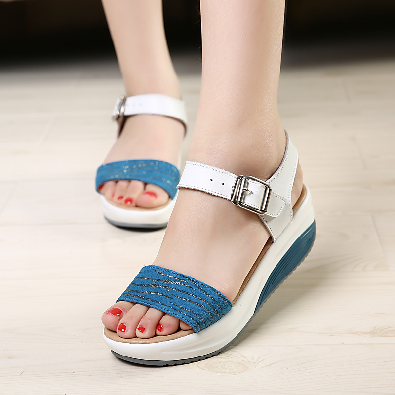 Summer sandals female 2019 leather wedge heel sandals fish mouth thick bottom rocking shoes women's sandals(China)