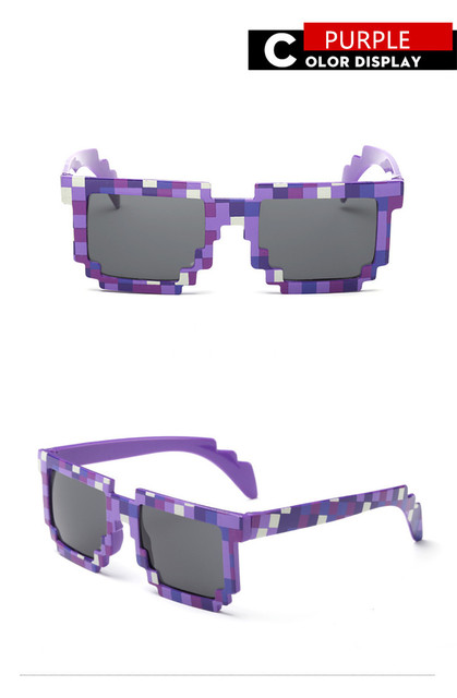 Vintage Square Novelty Mosaic Sun Glasses Unisex Pixel Sunglasses Trendy Minecraft Glasses With Case Children Gift