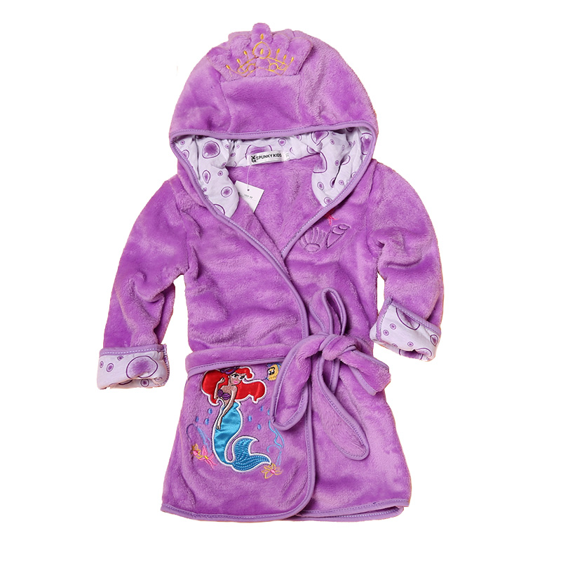 Cartoon Kids Robes Flannel Barn Boys Girls Robes Lovely Animal Hooded - Barnkläder - Foto 4