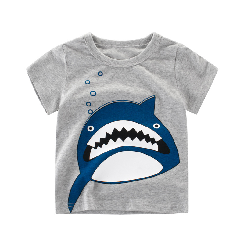 Chidren Clothes Kids T-shirt Beautiful Girl Animals Print 100% Cotton Chid Boy Short T Shirts Baby Girl Top T Shirts